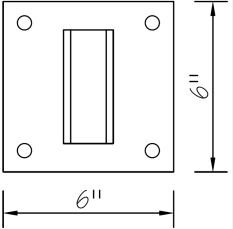 6 inch square bracket diagram