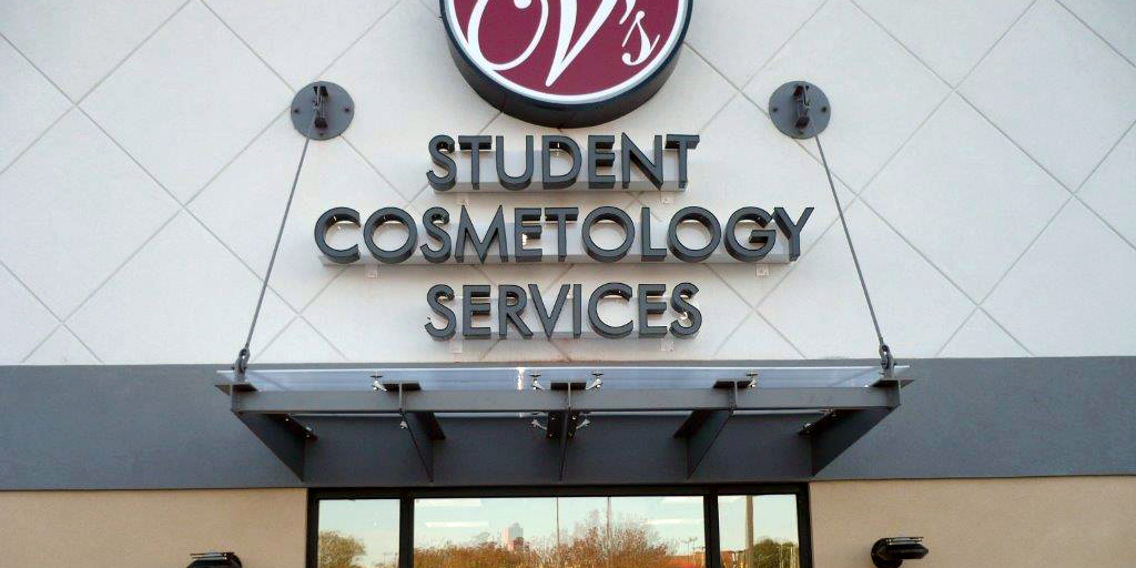 student cosmetology services awning