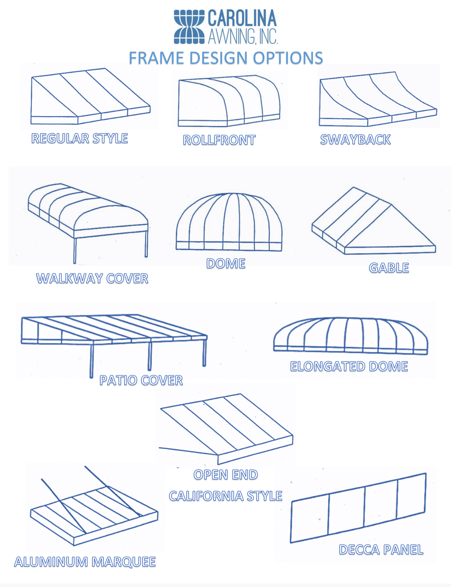Frame Options: Regular Style, Rollfront, Swayback, Walkway Cover, Dome, Gable, Patio Cover, Elongated Dome, Open End California Style, Aluminum Marquee, Decca Panel